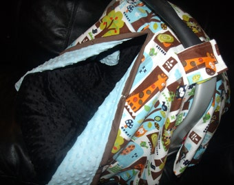 Carseat Canopy Minky Flannel Zoo Animals Blanket Cover You Choose Minky