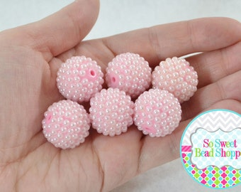 20mm Resin Pearl Beads, 6ct, Light Pink, Round