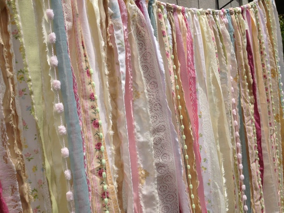 Shabby Rustic Chic Boho Gypsy Fabric Garland Backdrop - Curtain - Nursery, Dorm, Teen Room,  Decor - Glamping Caravan- 4 ft x 7 ft
