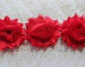 1 Yard Shabby Chiffon Flower Trim in Red - Flower Trim for Headbands and DIY supplies