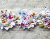 SALE!!!  1/2 Yard Spring Dot Shabby Chiffon Flower Trim - Flower Trim for Headbands and DIY supplies