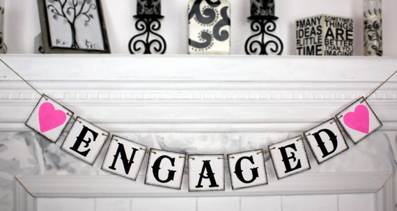 Items similar to ENGAGED BANNER - Wedding Banner - Engaged Banners ...