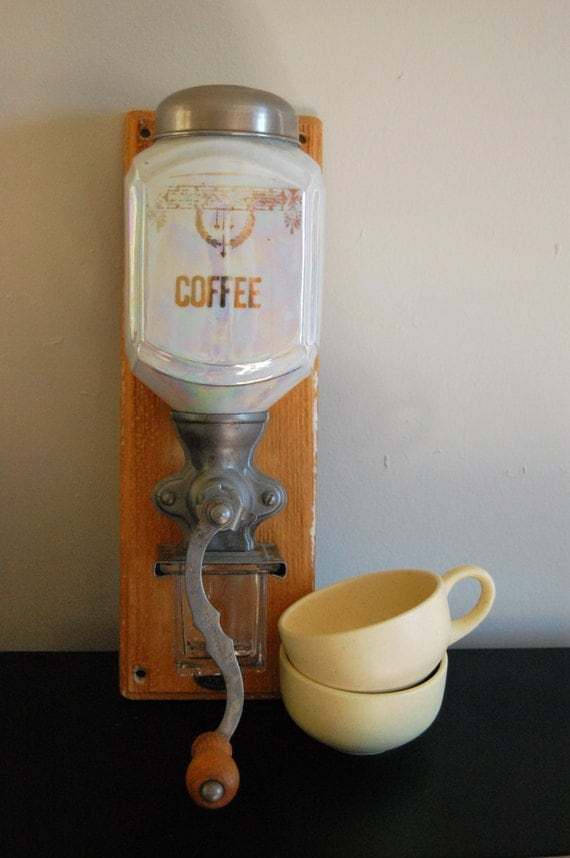 Wall Mounted Grinder ~ Antique opalescent wall mount coffee grinder by homolicious
