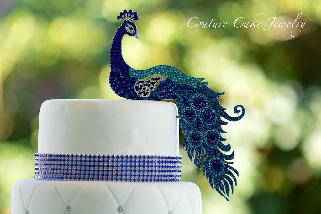 Peacock Cake Topper Handmade With Swarovski By
