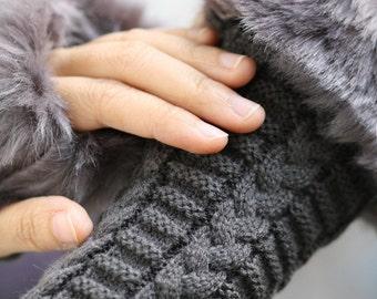 Dark gray  Fingerless Gloves