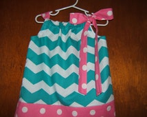 Girls Chevron Pillowcase Dress Turquoise Pink Polka Dot Border and Fabric Tie 3month-6 Infant Toddler Baby Girl Spring Summer Birthday Beach