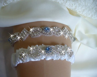Original Design Wedding Garter Set with Something Blue - Rhinestone Bridal Garter Set - Crystal Garters and Lingerie