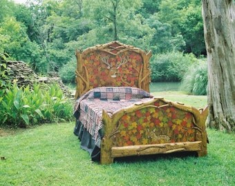 Hand Carved Queen Bed - Rustic Deer