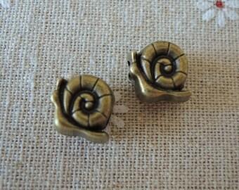 8pcs 12mm  Antique Bronze Snail  Bead with Big Hole ( A155)