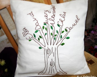 Custom Family Tree Pillow Cover -Hand Embroidered. Personalized Family Tree with Custom Names. Gift Idea, Christmas gift