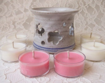 Ceramic Flower Cut Out Luminary Candle Holder with 6 Tea Lights In Cherry Blossom, Chamomile Tea and Vanilla