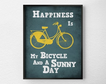 Bicycle Art Print, Bike Poster, Motivational Wall Art, Inspirational Print, Quote Print, Motivational Posters, Typographic Poster, 0094