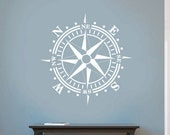 SALE Compass Rose Removable Wall Decal Vinyl Dinning Room Beach Nautical Theme Living Room Removable up to 36x36 inches