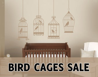 4 BIRDS CAGES Wall Decals Removable Vinyl Art Dinning Living Room Nursery Birdcage Sticker