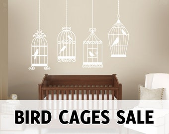 4 BIRDS CAGES Decals Removable Wall Art Vinyl Dinning Living Room Nursery Birdcage Sticker