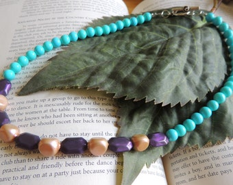 fun teal, peach, and purple necklace