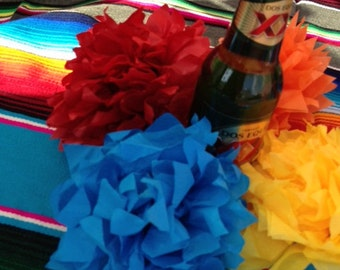 MEDIUM - 5 Mexican Paper Flowers for Your FIESTA
