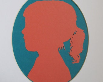 Custom Hand Cut Paper Silhouette Portrait With White Oval Matte 8x10