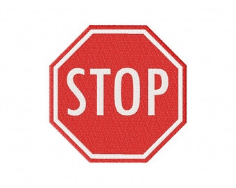 INSTANT DOWNLOAD Stop Sign Machine Embroidery Design