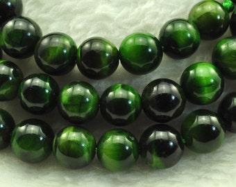 Green Tiger Eye smooth Round  beads 8mm,47 pcs