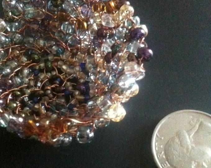 multicolor glass beaded miniature wire basket