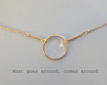 Karma, Halo, Circle, Gold, Necklace, Golf filled, Chain, Necklace, Birthday, Friendship, Best friend, Sister, Gift, Accessories, Jewelry