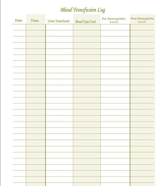 fillable blood transfusion log pdf digital health forms