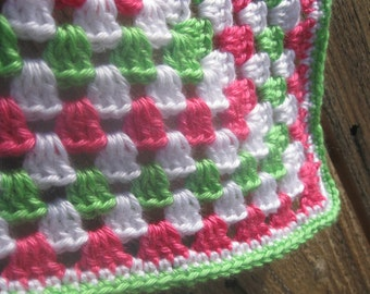 Crochet Baby Blanket or Lap Blanket Granny Square / Green/White/Pink/ Baby Shower Gift / Gift for Baby / Ready to Ship