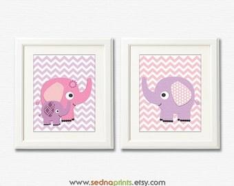 Purple and pink chevron elephant baby print set, nursery Art Print set - 8x10 - Children art, baby girl wall decor, lilac - UNFRAMED