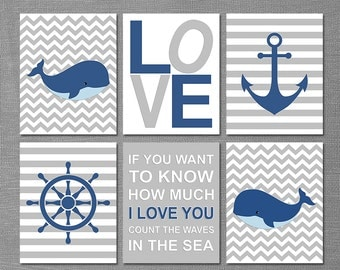 Navy and grey Nautical baby boy art print, nursery art print - 5x7 - whale, chevron, stripes, anchor, captain's wheel, quote  - UNFRAMED