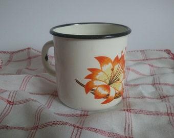 Vintage Soviet  Enamel Cup With Floral Motive