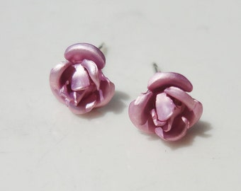 Metallic Pink Metal Rose Flower 7.5mm Stud Earring