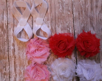 Baby Barefoot Sandal Set of 3, Interchangeable Flowers with Velcro, Newborn sandals, Toddler Sandals