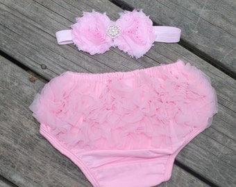 Light Pink Ruffle Bloomer and Headband Set, diaper cover, newborn bloomer, photo prop