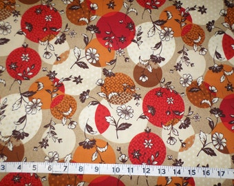 Marcus Brothers Meridian Mix 9566 Laura Berringer Cotton Fabric Floral Red Tan