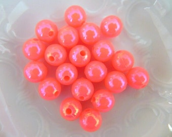 Pink Neon Beads 8mm, Pearlised , Neon Pink, 20 pcs, Acrylic,  Round beads, Bubblegum pink