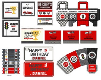 Race Car Party with Invitation, Race Car Birthday,  Cars party Cars birthday Instand Download with personalized items emailed