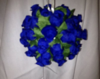 blue Flower Christmas Ornament 3 1/2 inches wide