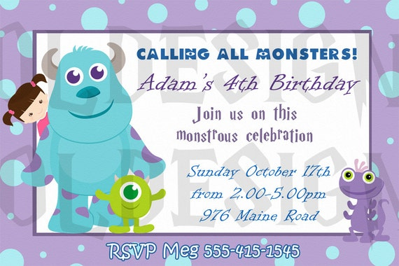 Monsters Inc Invitations Birthday futurecliminfo
