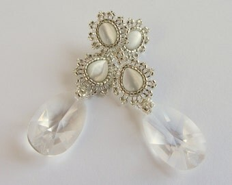 Silver and White Bridal Earrings with German Crystal Drops