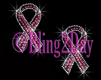 Set of 2 - Pink Breast Cancer Ribbon - Iron on Rhinestone Transfer Bling Hot Fix Awareness Applique - DIY
