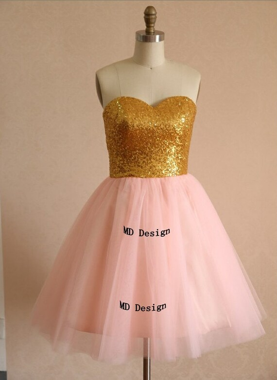 Gold sequins blush pink tulle bridesmaid dress prom by for Pink and gold wedding dress