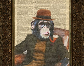 Professor Chimp In Library on Antique Dictionary Page upcycled art print Wall Decor Mixed Media Collage