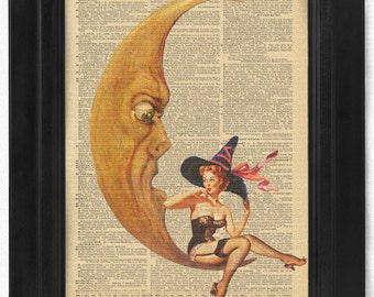 Halloween Witch Tease reinvented Gil Elvgren, Pinup, Pin Up on 100 yr old Antique Dictionary Page, Wall Decor, Wall Decor, Book Art
