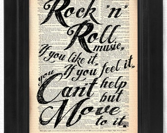 Elvis quote - Rock n Roll on 100 yr old Antique Dictionary Page, Dictionary Print, Wall Decor, Wall Decor, Book Art