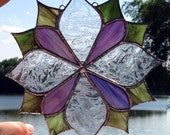Made to Order Abstract flower design sun catcher in stained glass