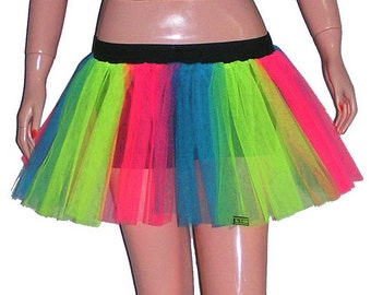Multi Rainbow Neon UV Stripe Tutu Skirt For Dance Party Ruffled Tulle Skirt adult
