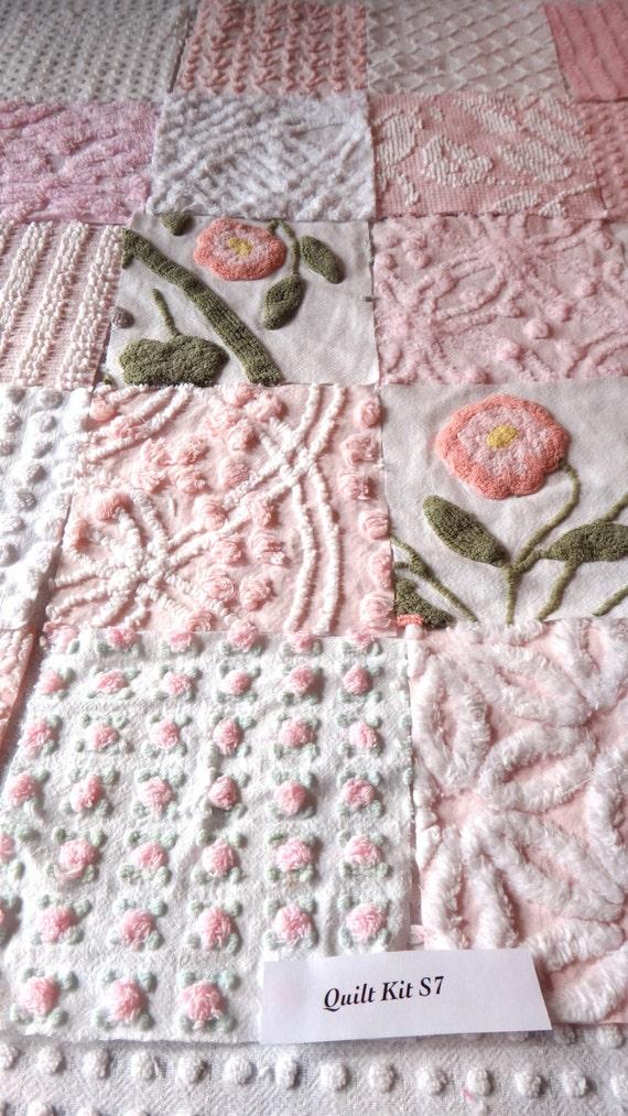 Vintage Chenille Bedspread Quilt Kit 20 6 Inch Squares Light