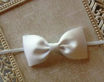 Baby Headband - Baby Bow Headband - White Baby Headband - Bow Headband - Newborn Headband - White Bow Headband -Baby Girl Headband