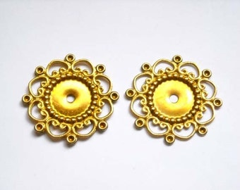 10 Raw Bronze Flower Filigree Cabochon Settings Jewelry Supplies Findings BFFCS23-10BD2-43